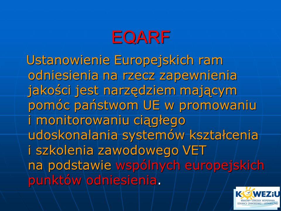 EQARF Ustanowienie Europejskich ram odniesienia na rzecz zapewnienia jakości jest narzędziem mającym pomóc państwom UE w promowaniu i monitorowaniu ci