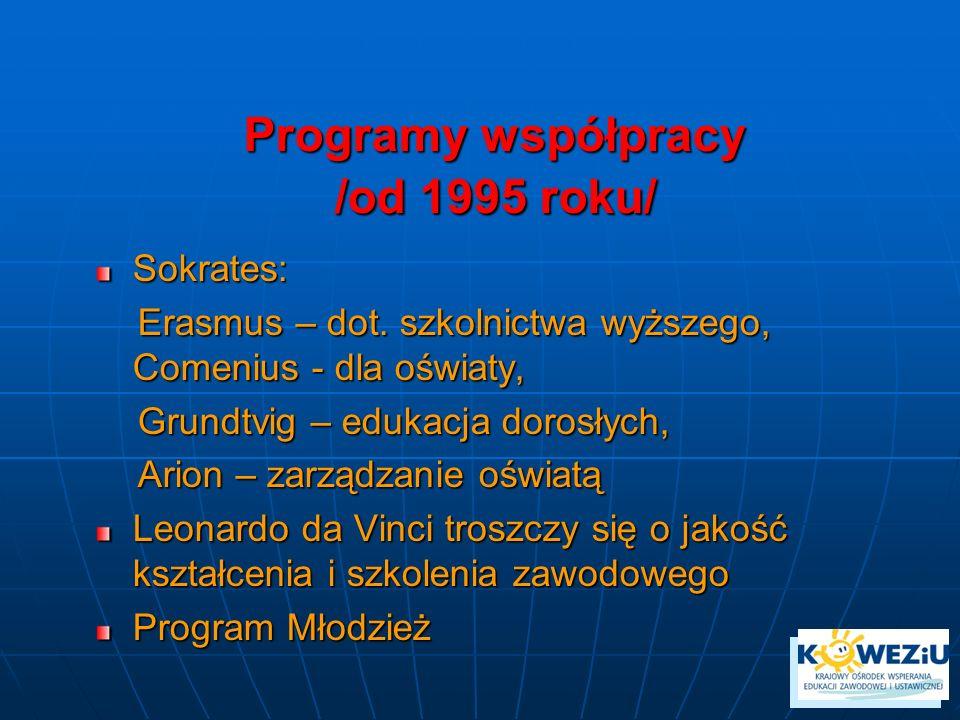 Programy współpracy /od 1995 roku/ Sokrates: Erasmus – dot. szkolnictwa wyższego, Comenius - dla oświaty, Erasmus – dot. szkolnictwa wyższego, Comeniu
