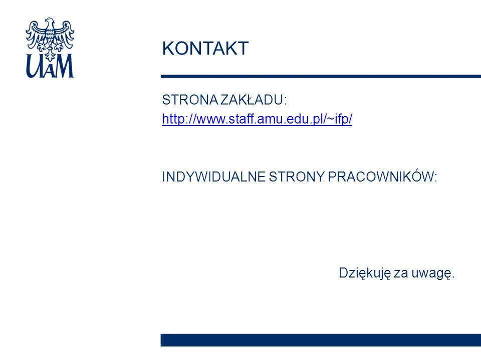 STRONA ZAKŁADU: http://www.staff.amu.edu.pl/~ifp/ INDYWIDUALNE STRONY PRACOWNIKÓW: Dziękuję za uwagę.