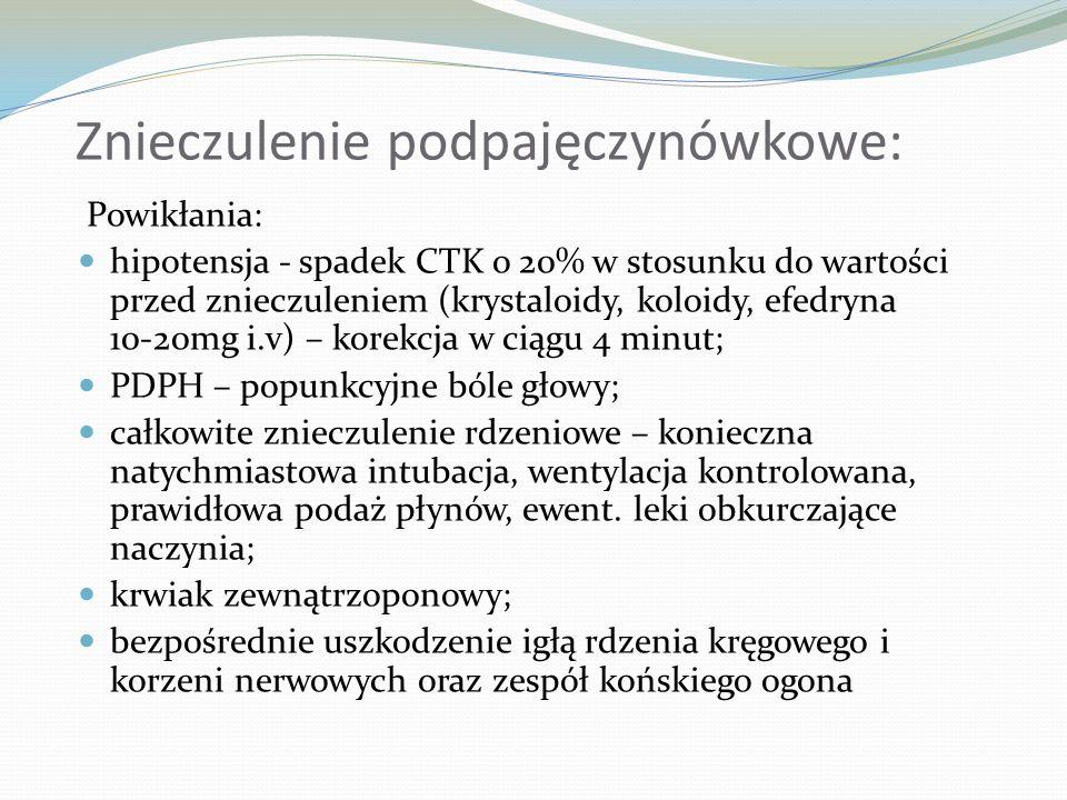 Znieczulenie podpajęczynówkowe: Powikłania: hipotensja - spadek CTK o 20% w stosunku do wartości przed znieczuleniem (krystaloidy, koloidy, efedryna 1
