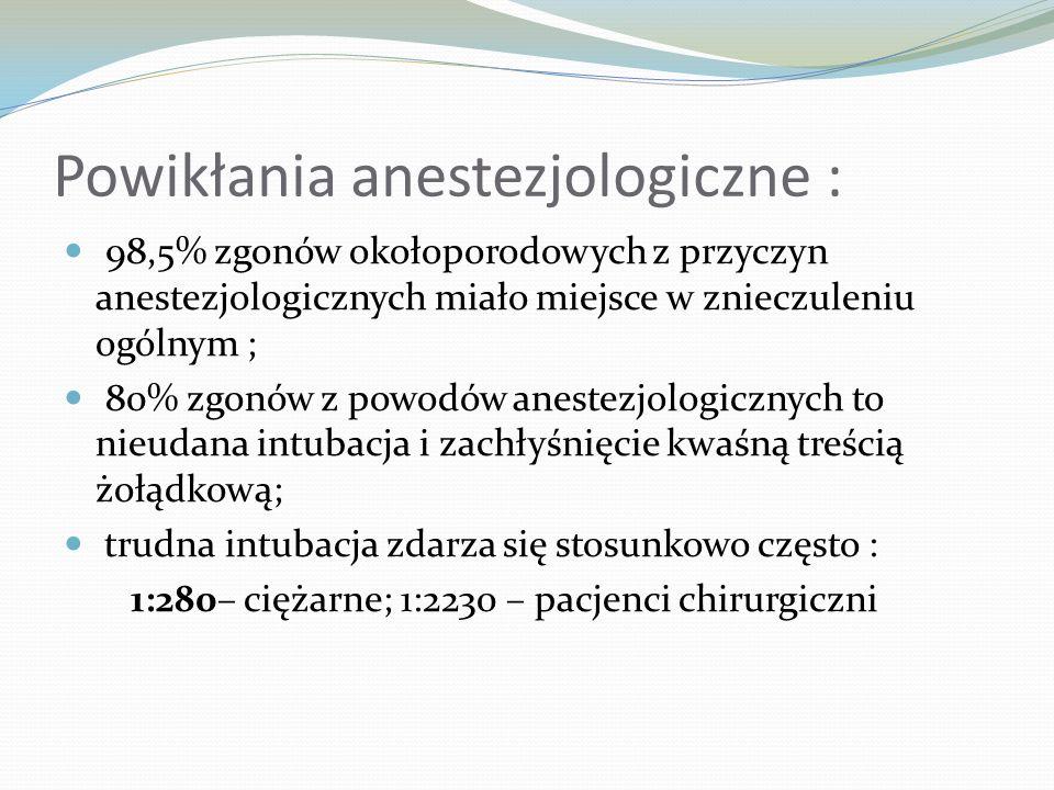 Powikłania anestezjologiczne : 98,5% zgonów okołoporodowych z przyczyn anestezjologicznych miało miejsce w znieczuleniu ogólnym ; 80% zgonów z powodów