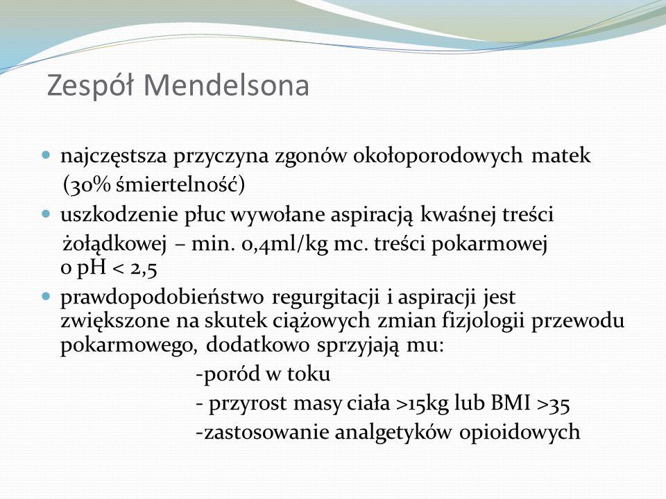 Zespół Mendelsona najczęstsza przyczyna zgonów okołoporodowych matek (30% śmiertelność) uszkodzenie płuc wywołane aspiracją kwaśnej treści żołądkowej