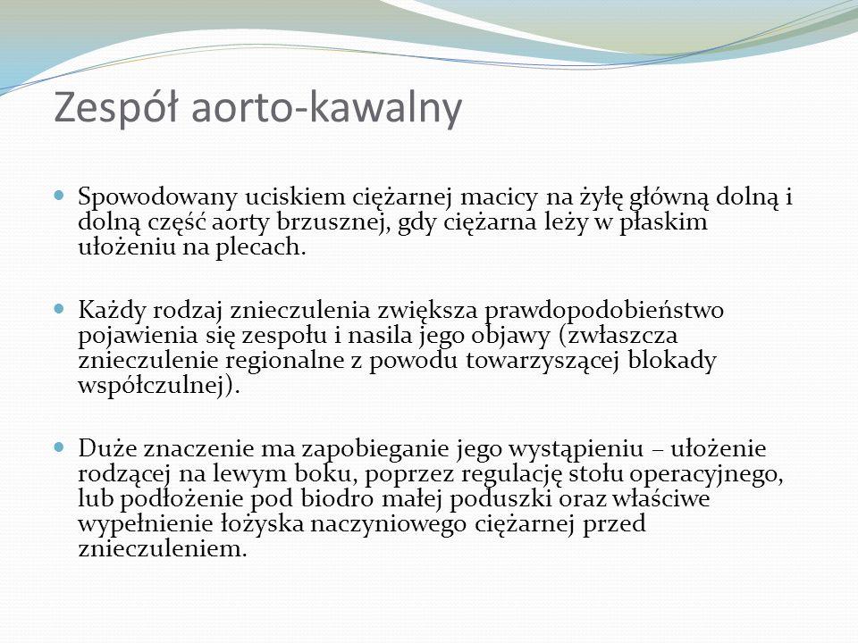 Zespół aorto-kawalny Spowodowany uciskiem ciężarnej macicy na żyłę główną dolną i dolną część aorty brzusznej, gdy ciężarna leży w płaskim ułożeniu na