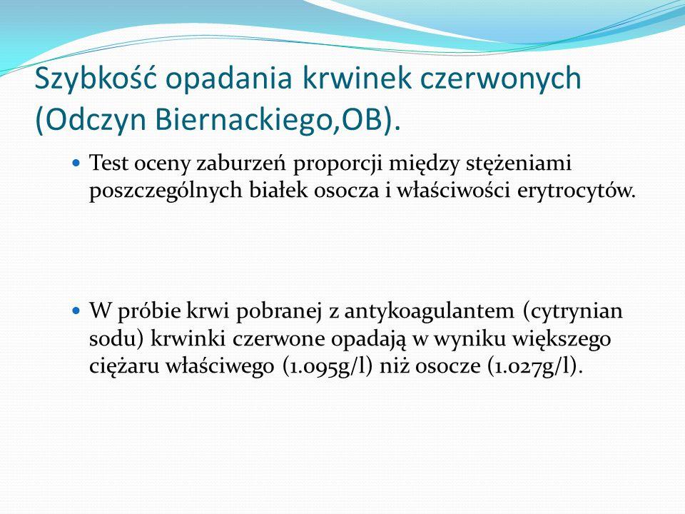 Szybkość opadania krwinek czerwonych (Odczyn Biernackiego,OB). Test oceny zaburzeń proporcji między stężeniami poszczególnych białek osocza i właściwo