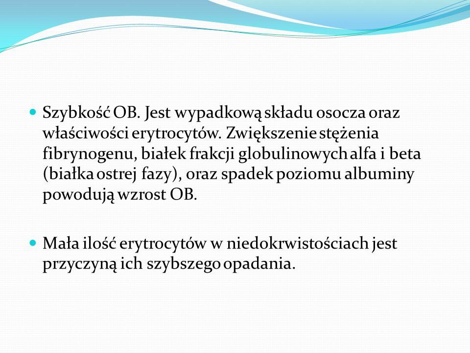 Szybkość OB. Jest wypadkową składu osocza oraz właściwości erytrocytów. Zwiększenie stężenia fibrynogenu, białek frakcji globulinowych alfa i beta (bi