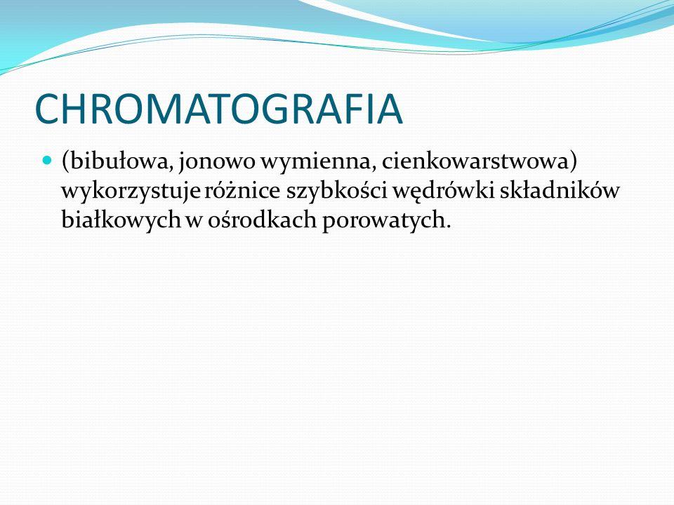 CHROMATOGRAFIA (bibułowa, jonowo wymienna, cienkowarstwowa) wykorzystuje różnice szybkości wędrówki składników białkowych w ośrodkach porowatych.