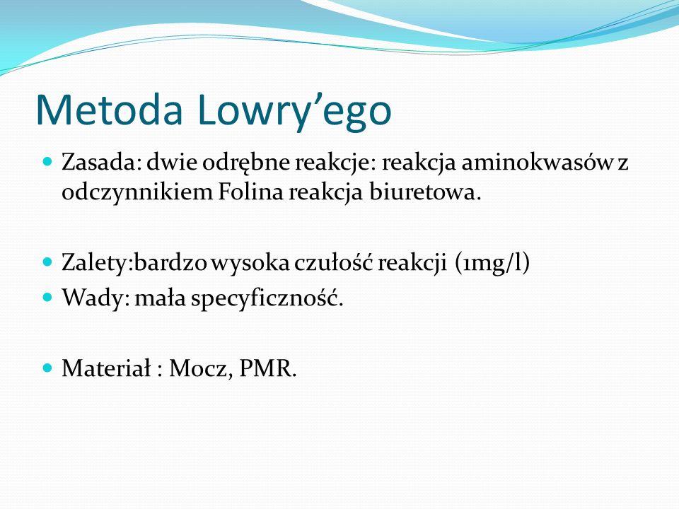 Metoda Lowryego Zasada: dwie odrębne reakcje: reakcja aminokwasów z odczynnikiem Folina reakcja biuretowa.