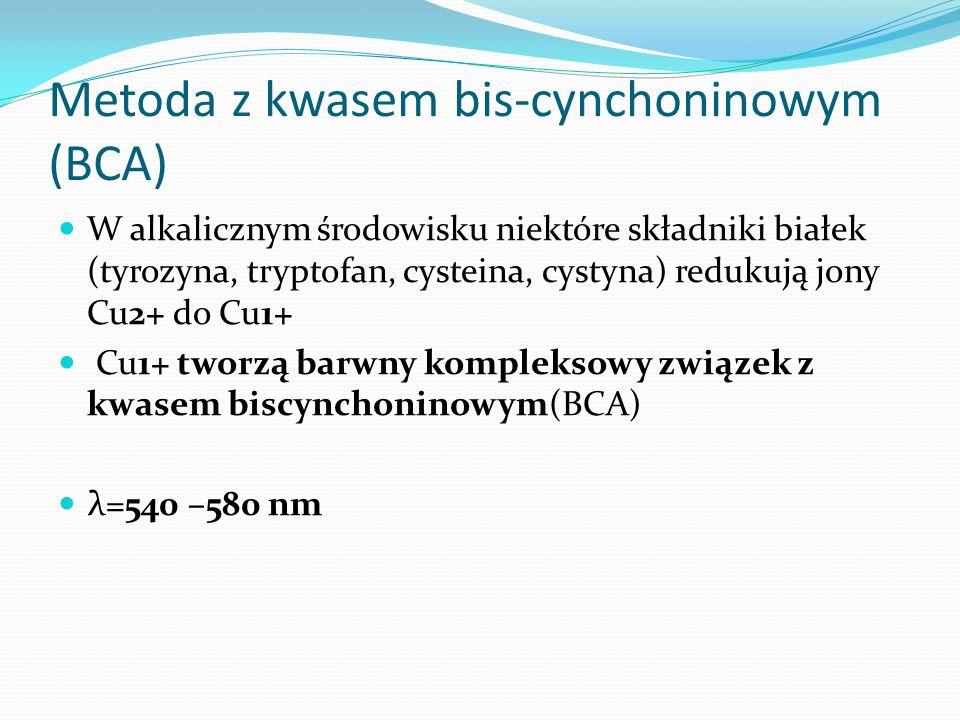 Metoda z kwasem bis-cynchoninowym (BCA) W alkalicznym środowisku niektóre składniki białek (tyrozyna, tryptofan, cysteina, cystyna) redukują jony Cu2+ do Cu1+ Cu1+ tworzą barwny kompleksowy związek z kwasem biscynchoninowym(BCA) λ=540 –580 nm