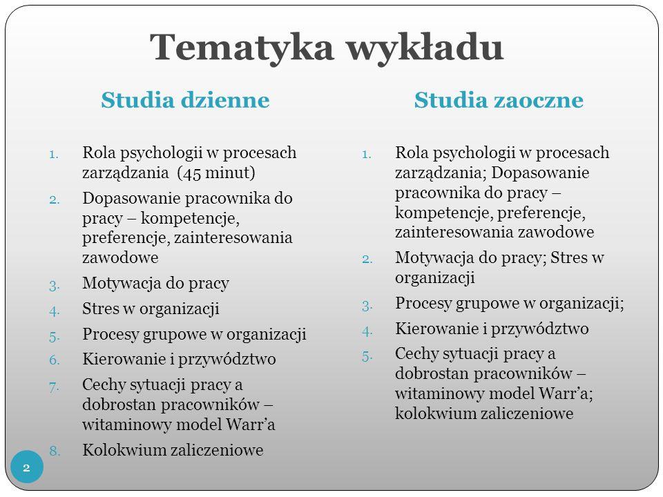 Tematyka wykładu Studia dzienneStudia zaoczne 1.