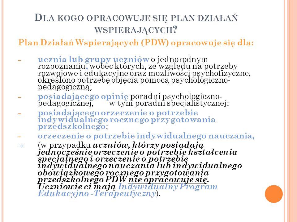 D LA KOGO OPRACOWUJE SIĘ PLAN DZIAŁAŃ WSPIERAJĄCYCH ? Plan Działań Wspierających (PDW) opracowuje się dla: – ucznia lub grupy uczniów o jednorodnym ro