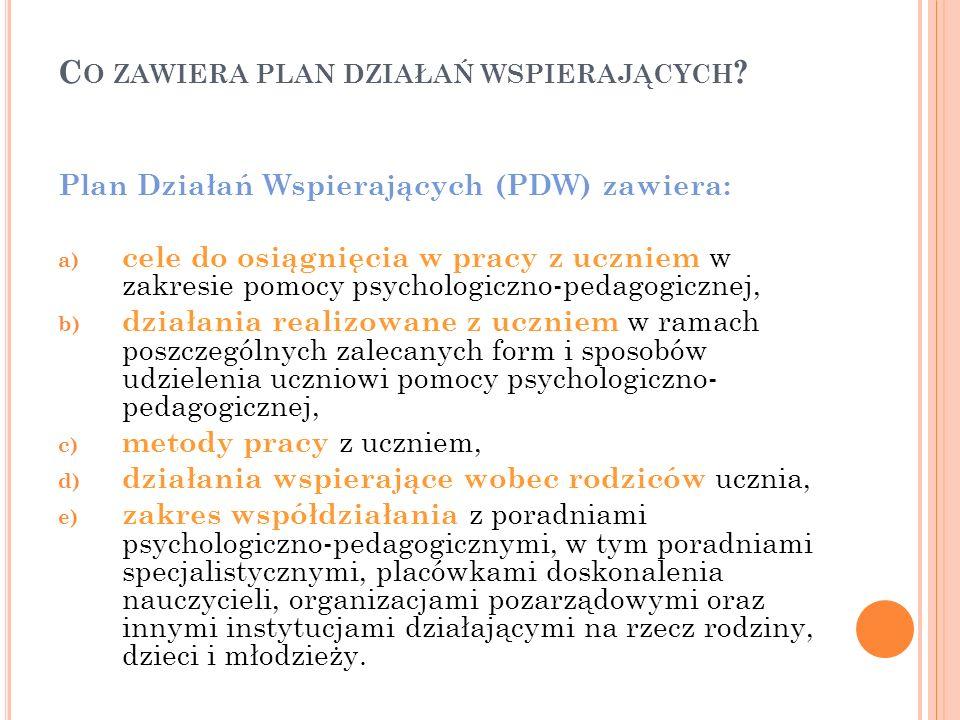 C O ZAWIERA PLAN DZIAŁAŃ WSPIERAJĄCYCH ? Plan Działań Wspierających (PDW) zawiera: a) cele do osiągnięcia w pracy z uczniem w zakresie pomocy psycholo