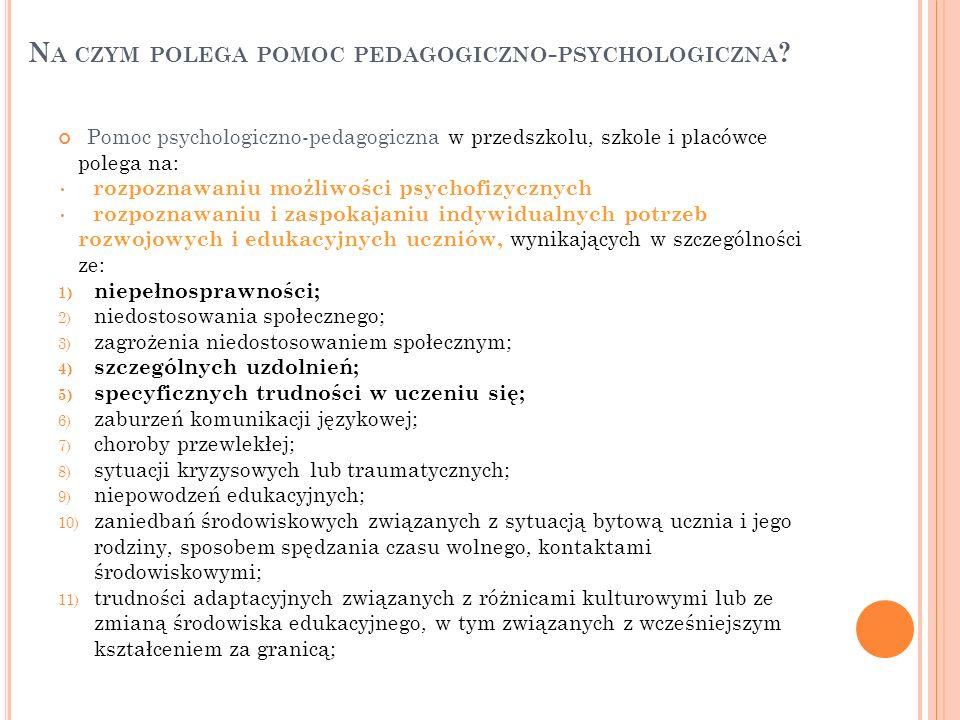 N A CZYM POLEGA POMOC PEDAGOGICZNO - PSYCHOLOGICZNA ? Pomoc psychologiczno-pedagogiczna w przedszkolu, szkole i placówce polega na: rozpoznawaniu możl