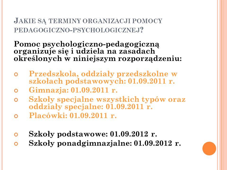 J AKIE SĄ TERMINY ORGANIZACJI POMOCY PEDAGOGICZNO - PSYCHOLOGICZNEJ ? Pomoc psychologiczno-pedagogiczną organizuje się i udziela na zasadach określony