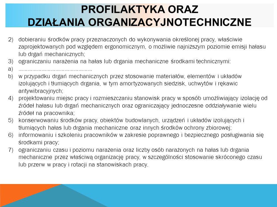 PROFILAKTYKA ORAZ DZIAŁANIA ORGANIZACYJNOTECHNICZNE 2)dobieraniu środków pracy przeznaczonych do wykonywania określonej pracy, właściwie zaprojektowan