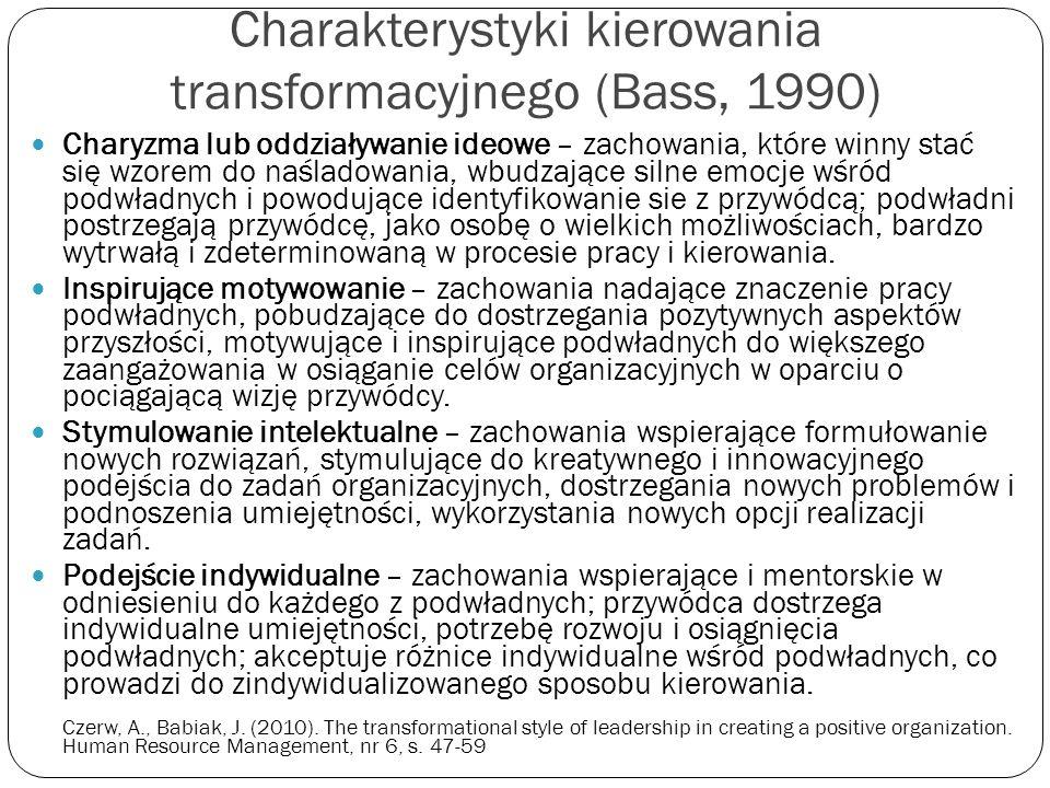 Charakterystyki kierowania transformacyjnego (Bass, 1990) Charyzma lub oddziaływanie ideowe – zachowania, które winny stać się wzorem do naśladowania,