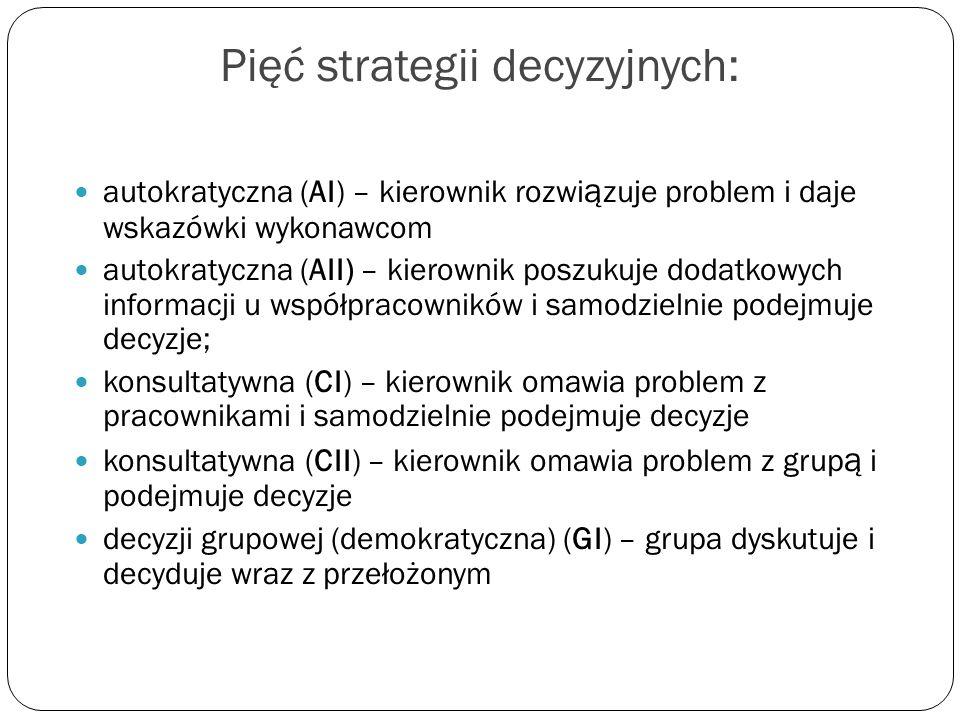 Pięć strategii decyzyjnych: autokratyczna (AI) – kierownik rozwi ą zuje problem i daje wskazówki wykonawcom autokratyczna (AII) – kierownik poszukuje