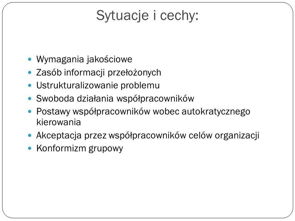 Sytuacje i cechy: Wymagania jakościowe Zasób informacji przełożonych Ustrukturalizowanie problemu Swoboda działania współpracowników Postawy współprac