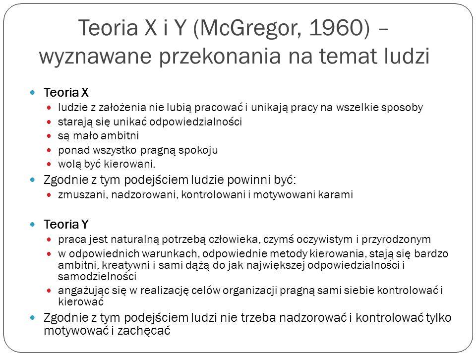 Teoria X i Y (McGregor, 1960) – wyznawane przekonania na temat ludzi Teoria X ludzie z założenia nie lubią pracować i unikają pracy na wszelkie sposob