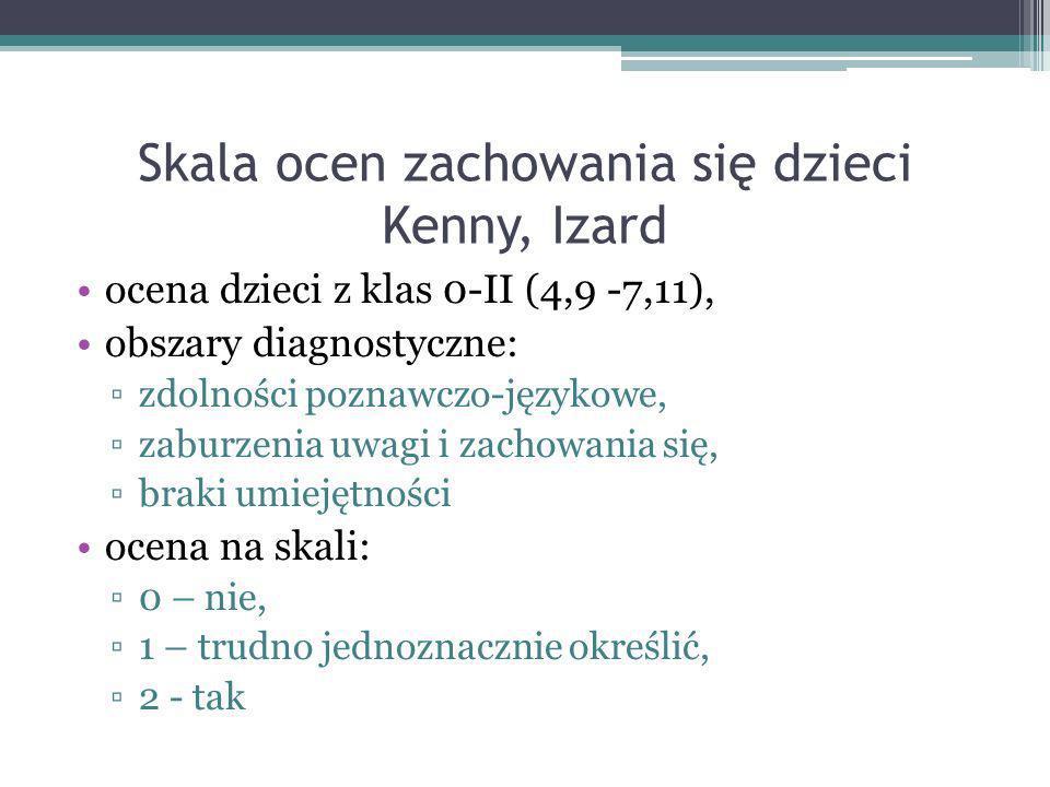 Skala ocen zachowania się dzieci Kenny, Izard ocena dzieci z klas 0-II (4,9 -7,11), obszary diagnostyczne: zdolności poznawczo-językowe, zaburzenia uw