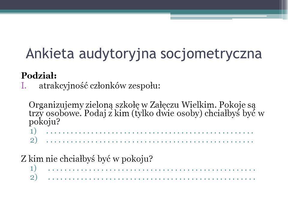 Ankieta audytoryjna socjometryczna Podział: I.atrakcyjność członków zespołu: Organizujemy zieloną szkołę w Załęczu Wielkim. Pokoje są trzy osobowe. Po
