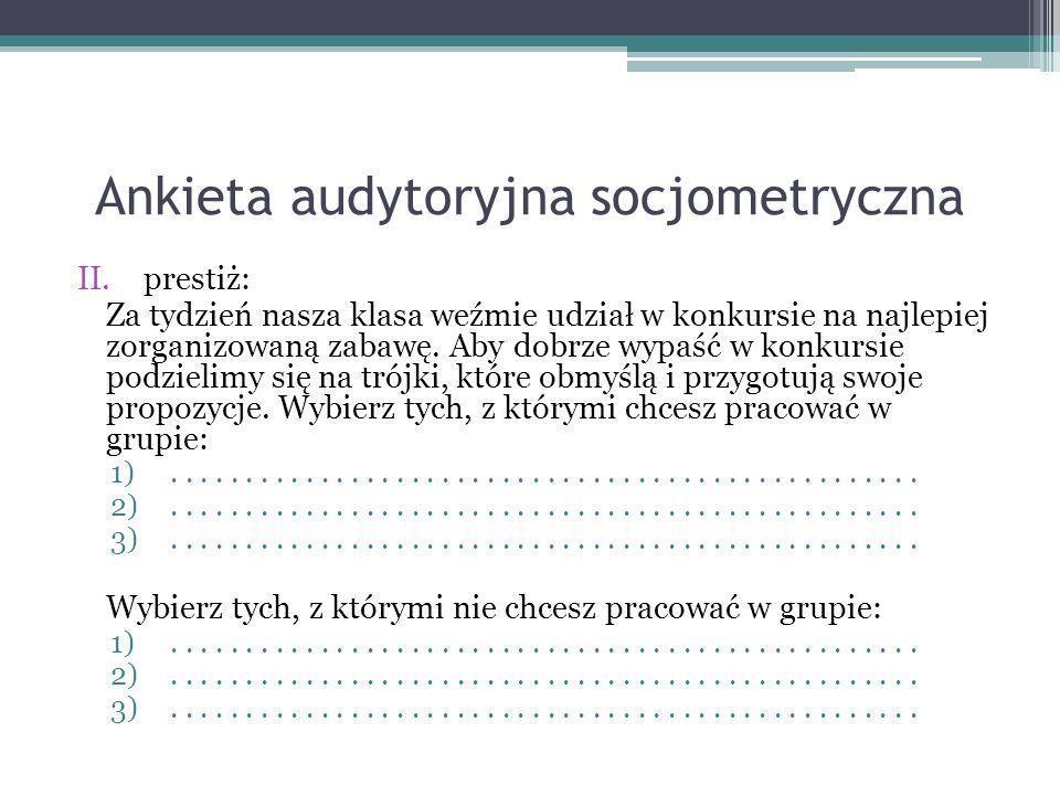 Ankieta audytoryjna socjometryczna II.prestiż: Za tydzień nasza klasa weźmie udział w konkursie na najlepiej zorganizowaną zabawę. Aby dobrze wypaść w
