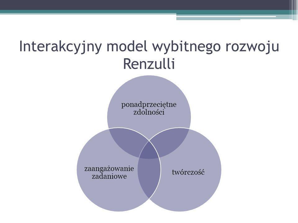 Interakcyjny model wybitnego rozwoju Renzulli ponadprzeciętne zdolności twórczość zaangażowanie zadaniowe