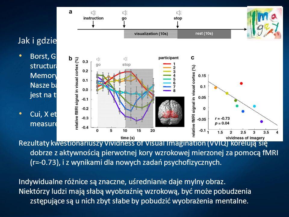 Wyobraźnia i zmysły Jak i gdzie powstają obrazy mentalne? Borst, G., Kosslyn, S. M, Visual mental imagery and visual perception: structural equivalenc