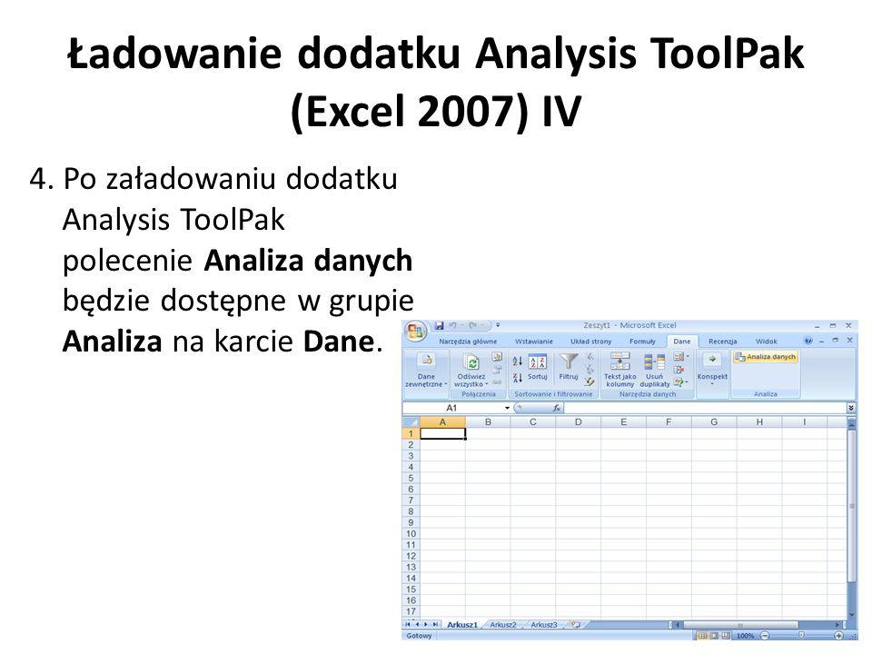 Ładowanie dodatku Analysis ToolPak (Excel 2007) IV 4. Po załadowaniu dodatku Analysis ToolPak polecenie Analiza danych będzie dostępne w grupie Analiz
