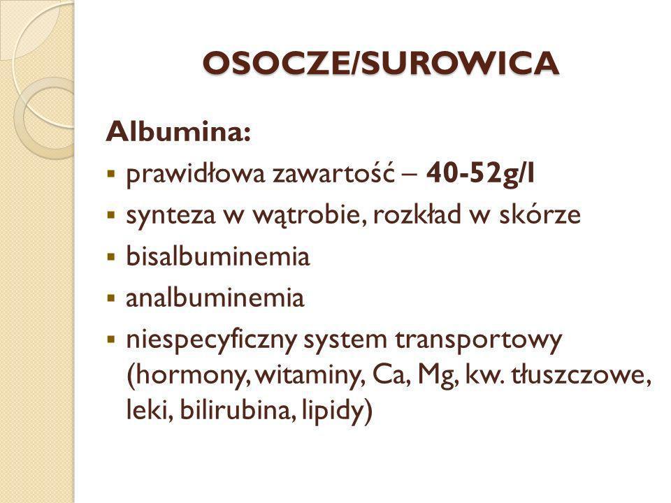 OSOCZE/SUROWICA Albumina: prawidłowa zawartość – 40-52g/l synteza w wątrobie, rozkład w skórze bisalbuminemia analbuminemia niespecyficzny system tran