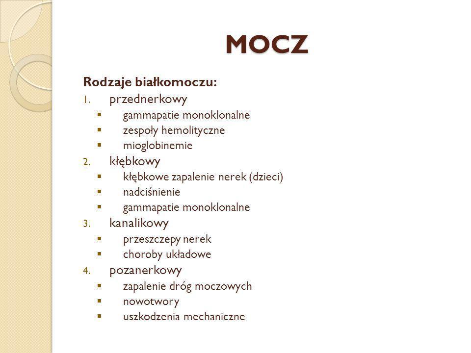 MOCZ Rodzaje białkomoczu: 1. przednerkowy gammapatie monoklonalne zespoły hemolityczne mioglobinemie 2. kłębkowy kłębkowe zapalenie nerek (dzieci) nad
