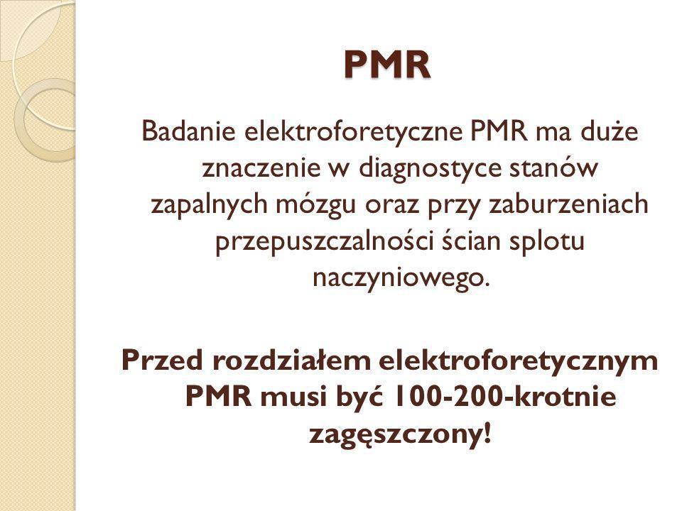 PMR Badanie elektroforetyczne PMR ma duże znaczenie w diagnostyce stanów zapalnych mózgu oraz przy zaburzeniach przepuszczalności ścian splotu naczyni
