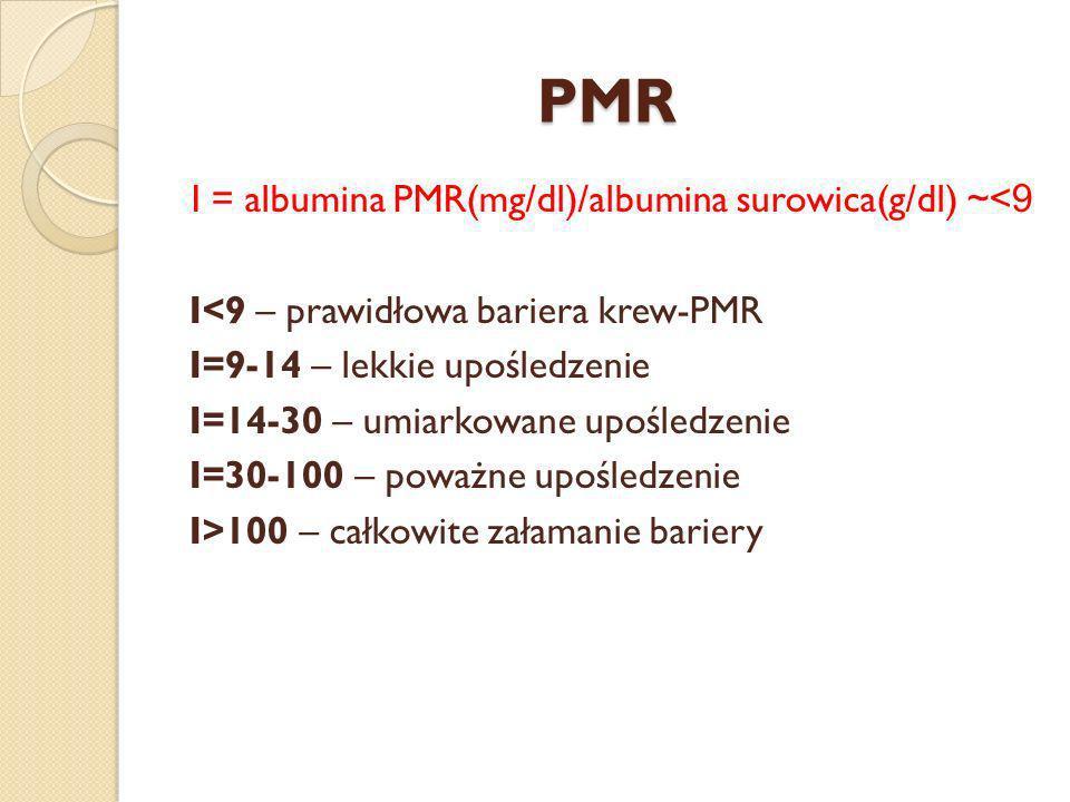 PMR I = albumina PMR(mg/dl)/albumina surowica(g/dl) ~<9 I<9 – prawidłowa bariera krew-PMR I=9-14 – lekkie upośledzenie I=14-30 – umiarkowane upośledze