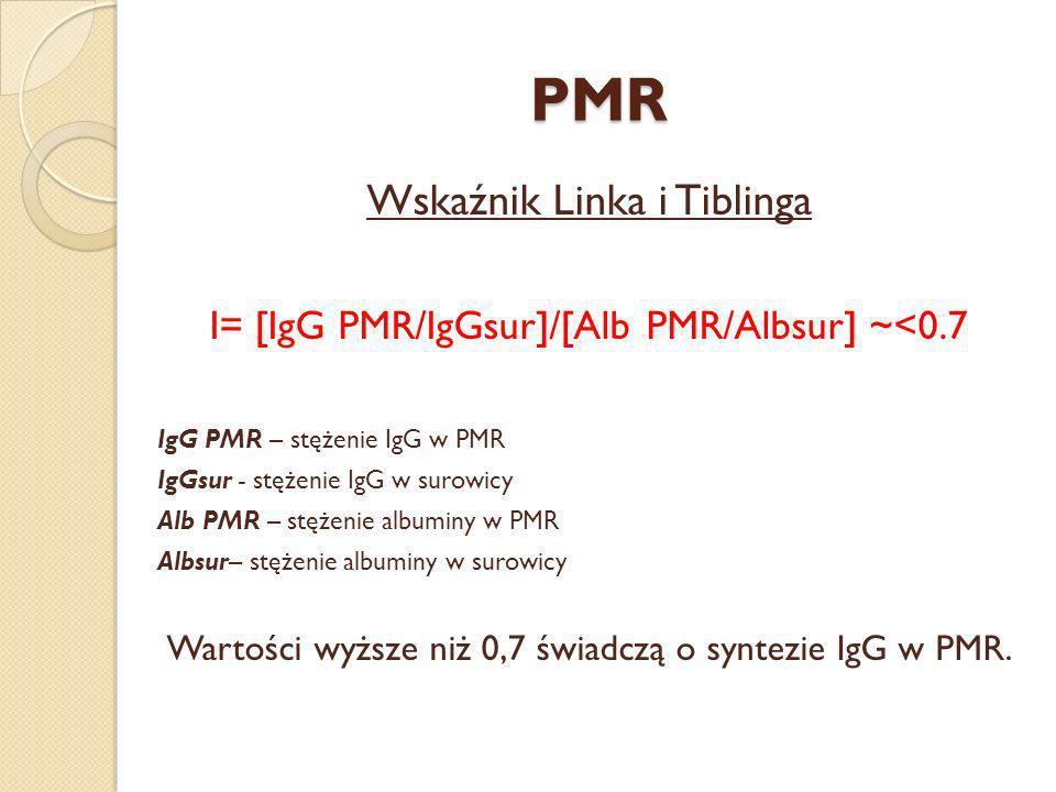 PMR Wskaźnik Linka i Tiblinga I= [IgG PMR/IgGsur]/[Alb PMR/Albsur] ~<0.7 IgG PMR – stężenie IgG w PMR IgGsur - stężenie IgG w surowicy Alb PMR – stęże