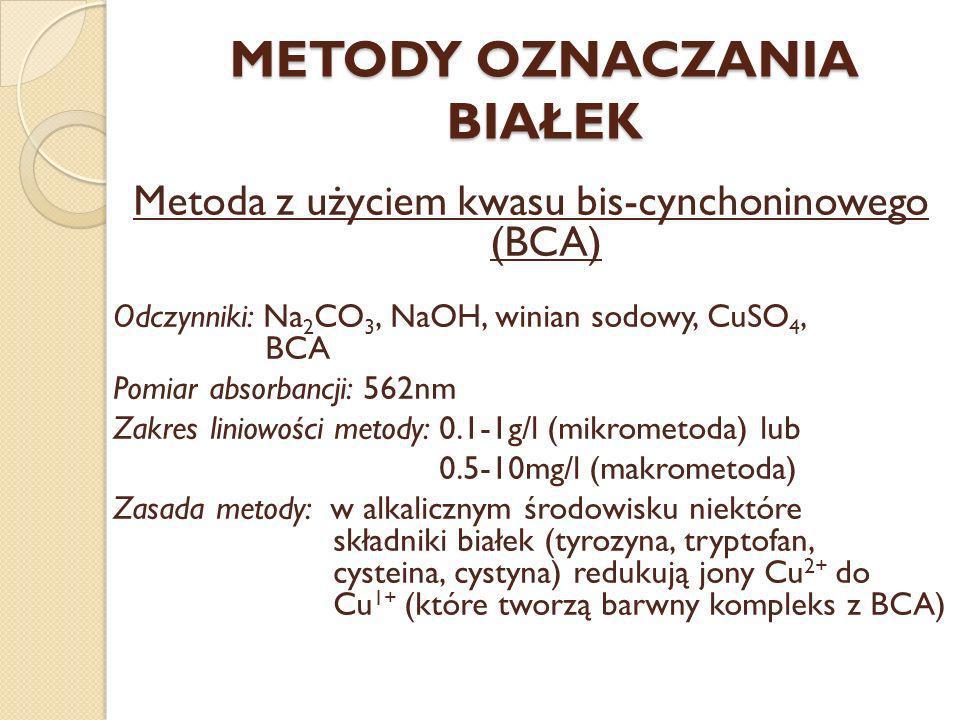 METODY OZNACZANIA BIAŁEK Metoda z użyciem kwasu bis-cynchoninowego (BCA) Odczynniki: Na 2 CO 3, NaOH, winian sodowy, CuSO 4, BCA Pomiar absorbancji: 5