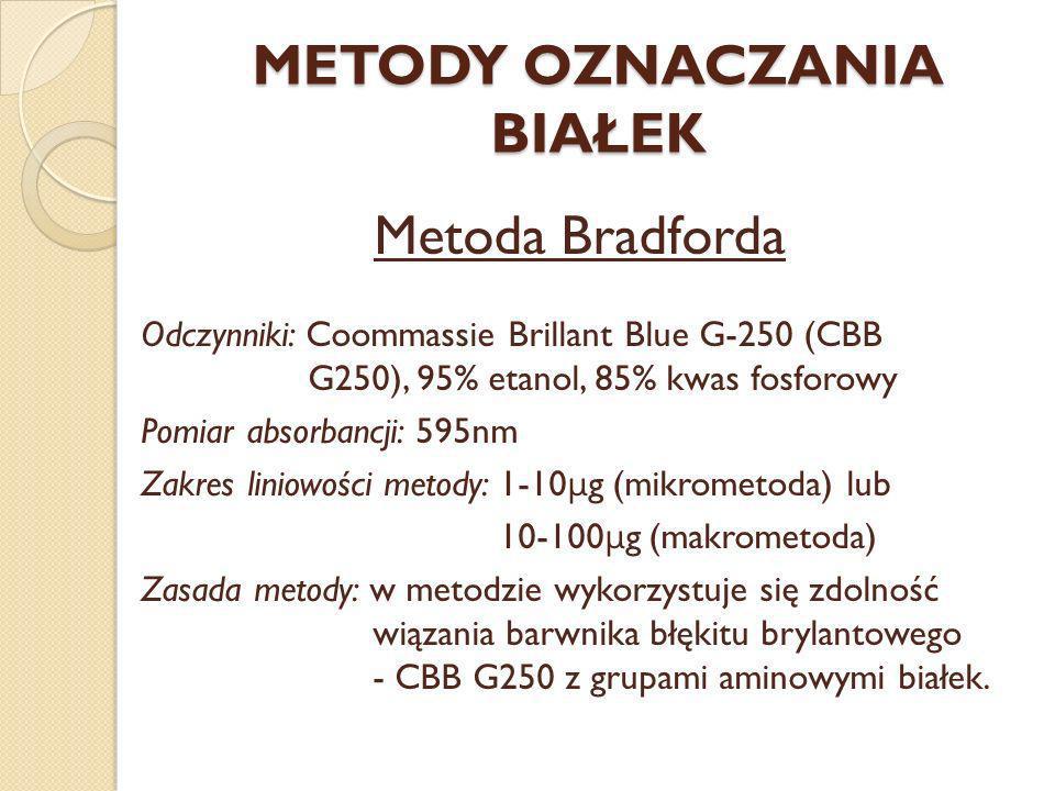 METODY OZNACZANIA BIAŁEK Metoda Bradforda Odczynniki: Coommassie Brillant Blue G-250 (CBB G250), 95% etanol, 85% kwas fosforowy Pomiar absorbancji: 59