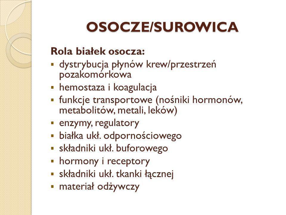 OSOCZE/SUROWICA Rola białek osocza: dystrybucja płynów krew/przestrzeń pozakomórkowa hemostaza i koagulacja funkcje transportowe (nośniki hormonów, me