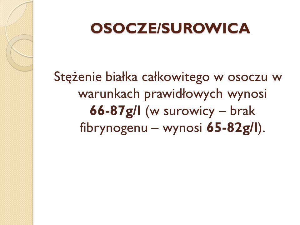 OSOCZE/SUROWICA Stężenie białka całkowitego w osoczu w warunkach prawidłowych wynosi 66-87g/l (w surowicy – brak fibrynogenu – wynosi 65-82g/l).