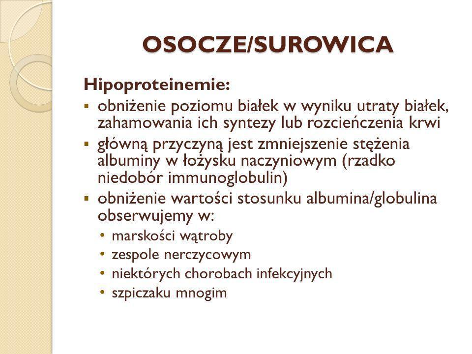 OSOCZE/SUROWICA Hipoproteinemie: obniżenie poziomu białek w wyniku utraty białek, zahamowania ich syntezy lub rozcieńczenia krwi główną przyczyną jest