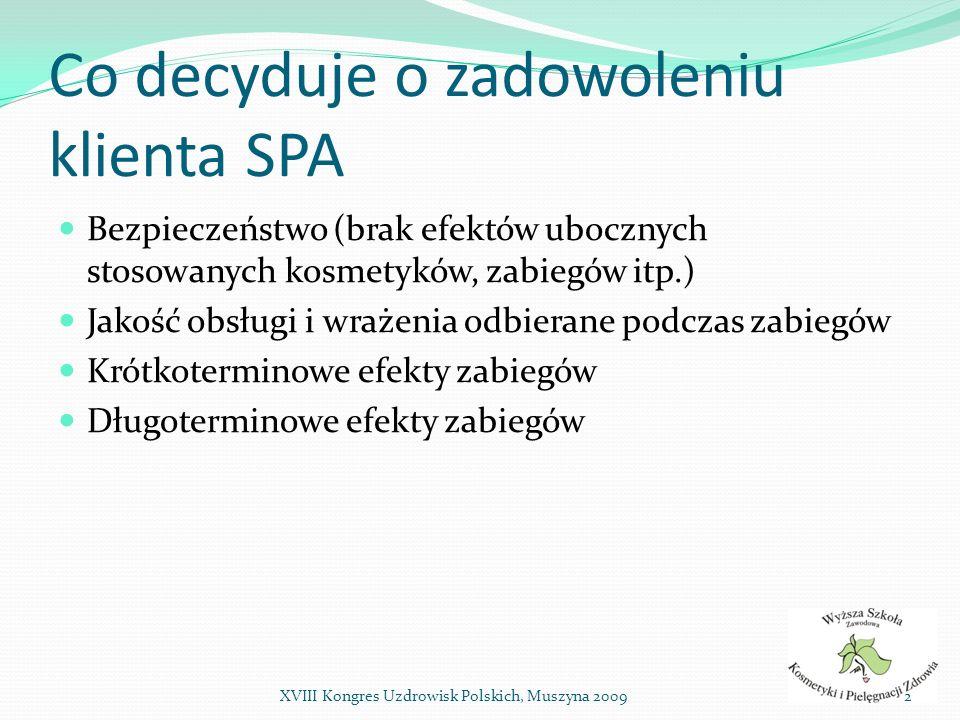 Co decyduje o zadowoleniu klienta SPA Kluczowe elementy: Jakość kosmetyków Jakość aparatury Jakość obsługi W tym również: umiejętność zaproponowania produktów i zabiegów odpowiednich dla danego klienta znajomość zasad działania, możliwości i ograniczeń aparatury 3XVIII Kongres Uzdrowisk Polskich, Muszyna 2009