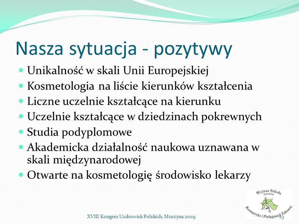 Nasza sytuacja - pozytywy Unikalność w skali Unii Europejskiej Kosmetologia na liście kierunków kształcenia Liczne uczelnie kształcące na kierunku Ucz