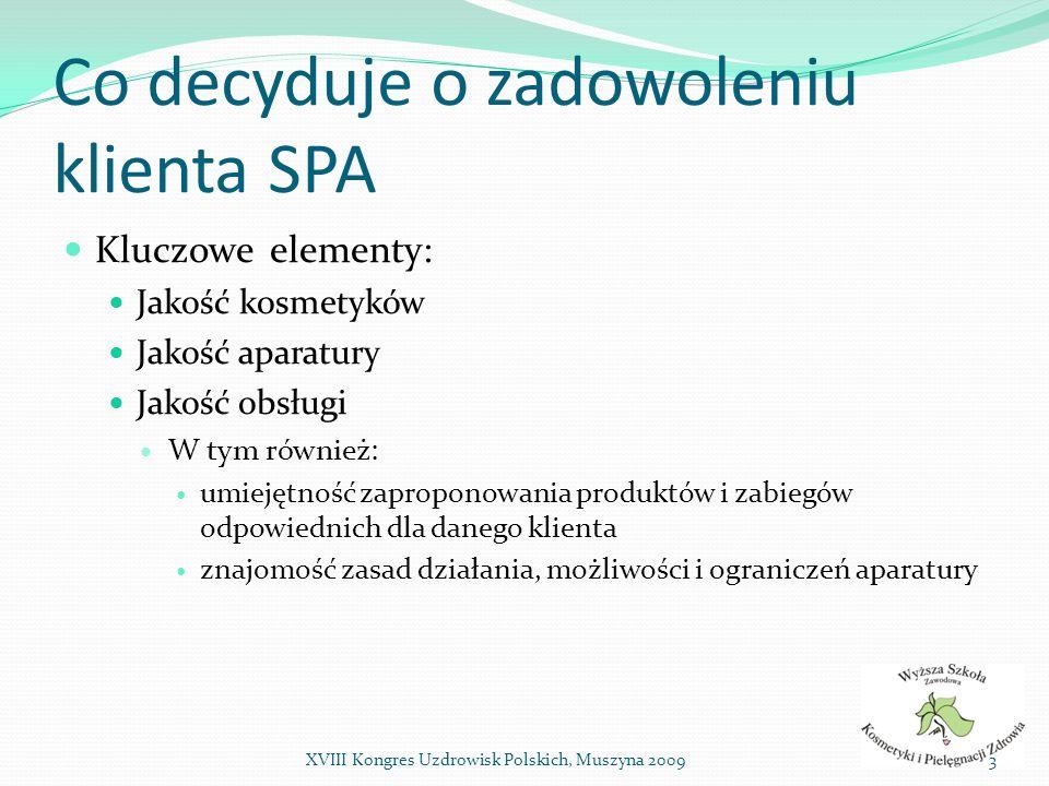 Co decyduje o zadowoleniu klienta SPA Kluczowe elementy: Jakość kosmetyków Jakość aparatury Jakość obsługi W tym również: umiejętność zaproponowania p