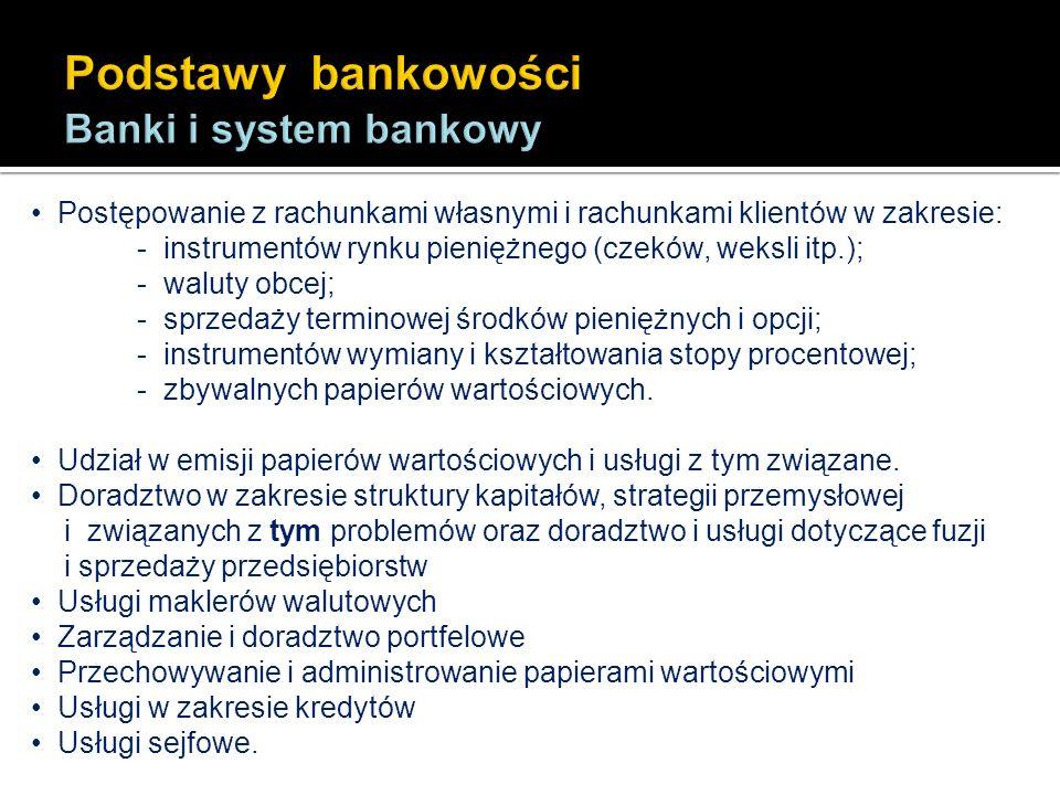 Postępowanie z rachunkami własnymi i rachunkami klientów w zakresie: - instrumentów rynku pieniężnego (czeków, weksli itp.); - waluty obcej; - sprzeda