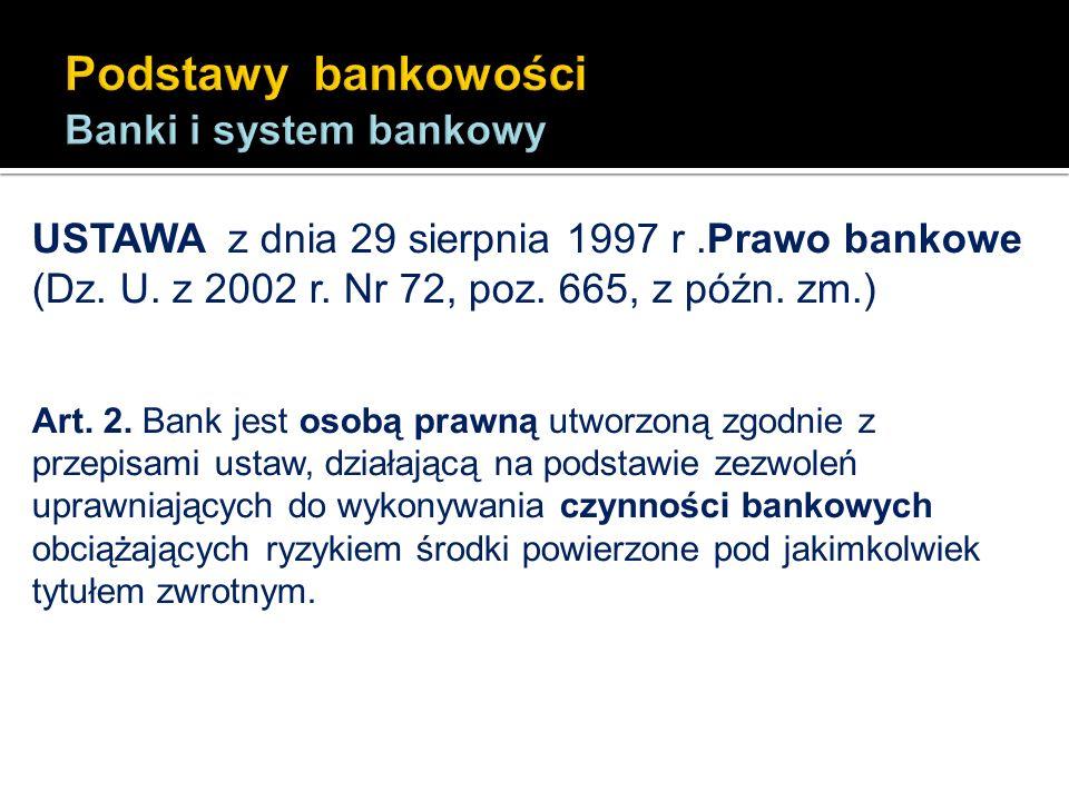 USTAWA z dnia 29 sierpnia 1997 r.Prawo bankowe (Dz. U. z 2002 r. Nr 72, poz. 665, z późn. zm.) Art. 2. Bank jest osobą prawną utworzoną zgodnie z prze