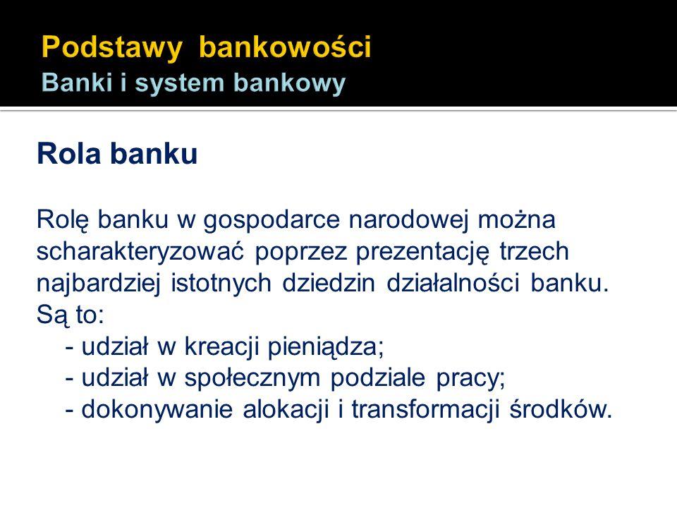 Rola banku Rolę banku w gospodarce narodowej można scharakteryzować poprzez prezentację trzech najbardziej istotnych dziedzin działalności banku. Są t