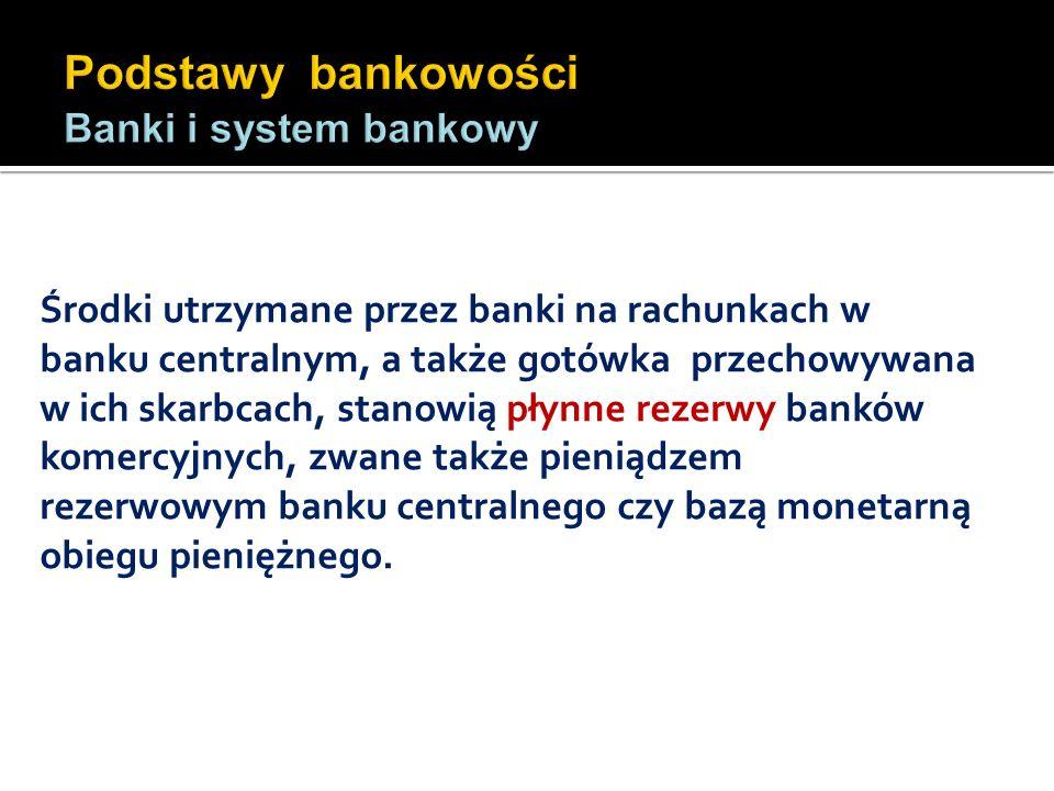 Środki utrzymane przez banki na rachunkach w banku centralnym, a także gotówka przechowywana w ich skarbcach, stanowią płynne rezerwy banków komercyjn