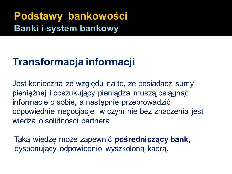 Transformacja informacji Jest konieczna ze względu na to, że posiadacz sumy pieniężnej i poszukujący pieniądza muszą osiągnąć informację o sobie, a na