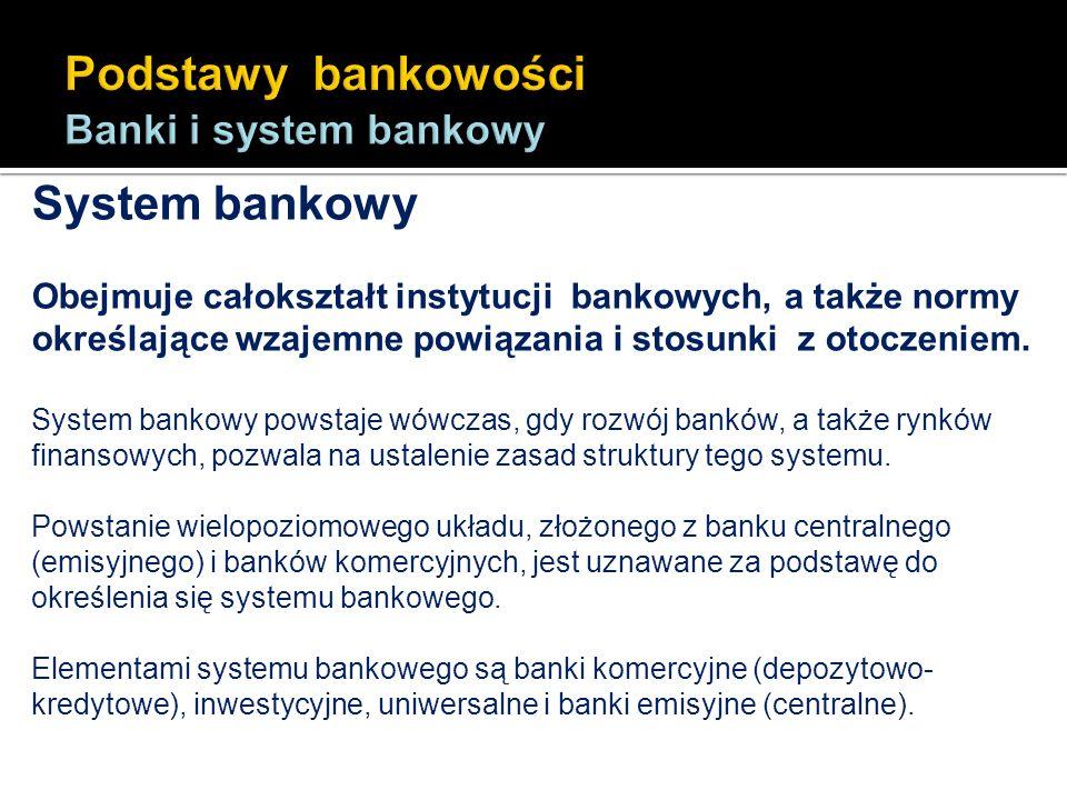 System bankowy Obejmuje całokształt instytucji bankowych, a także normy określające wzajemne powiązania i stosunki z otoczeniem. System bankowy powsta