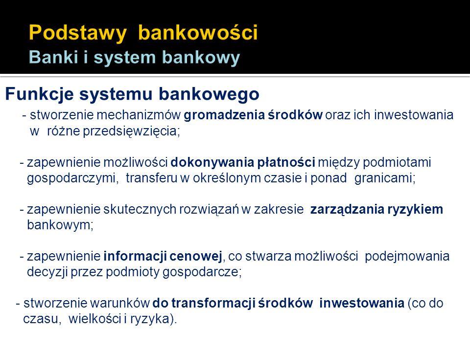 Funkcje systemu bankowego - stworzenie mechanizmów gromadzenia środków oraz ich inwestowania w różne przedsięwzięcia; - zapewnienie możliwości dokonyw