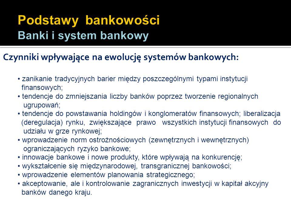 Czynniki wpływające na ewolucję systemów bankowych: zanikanie tradycyjnych barier między poszczególnymi typami instytucji finansowych; tendencje do zm