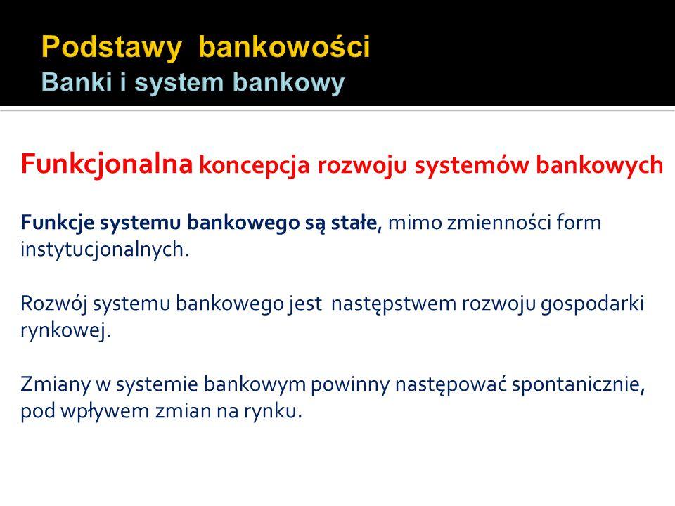Funkcjonalna koncepcja rozwoju systemów bankowych Funkcje systemu bankowego są stałe, mimo zmienności form instytucjonalnych. Rozwój systemu bankowego